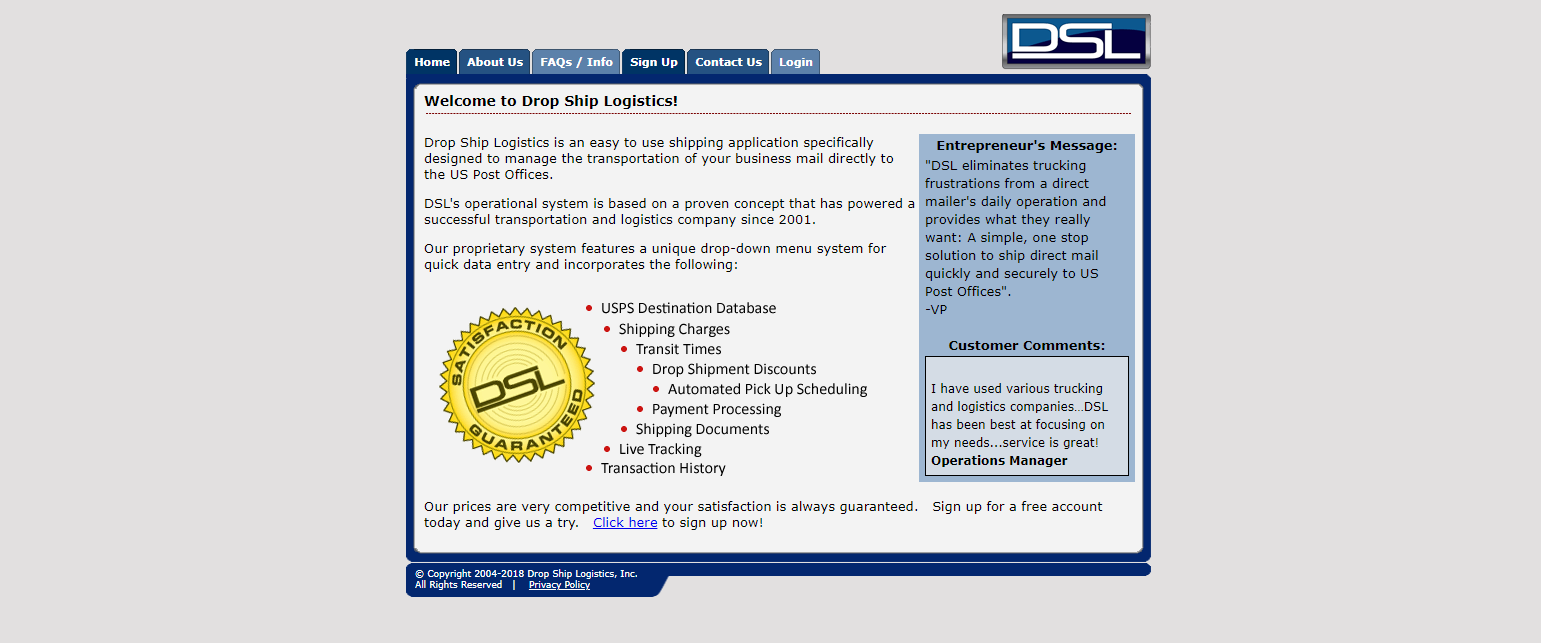 DSL system screenshot